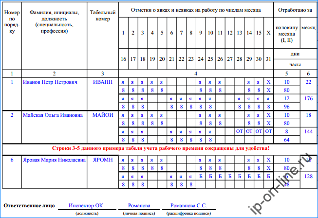 табель - н-2