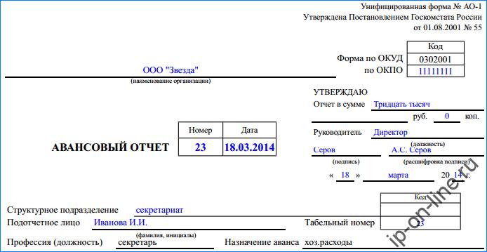 Авансовый отчет по форме АО-1